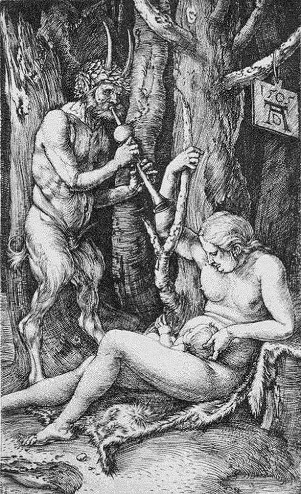 風刺の家族。彫刻   アルブレヒトデューラー