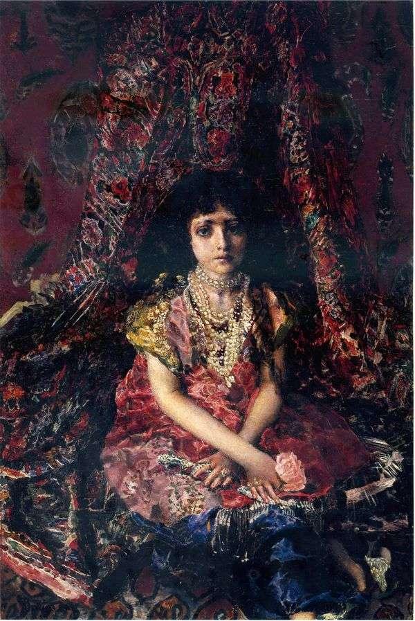 ペルシャ絨毯   ミハイルヴルベルの背景に女の子