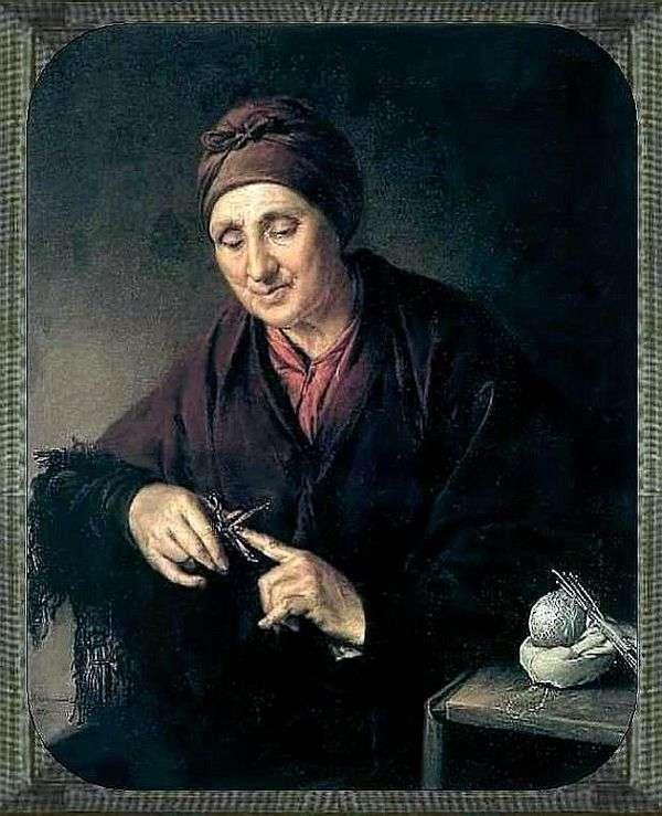 老婦人は彼女の爪をグルーミング   Vasily Tropinin
