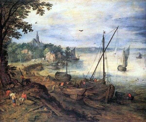 木こり   Jan Bruegelと川の風景