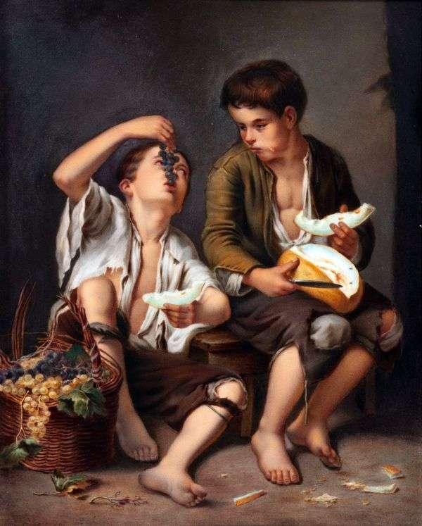 メロンとブドウを食べる人   バルトロメエステバンムリーリョ