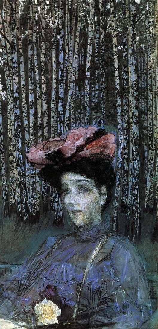 白樺の木   Mikhail Vrubelを背景にN. I. Zabela Vrubelの肖像画