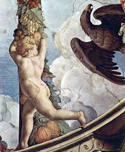 天使とガーランド(フレスコ画)   Agnolo Bronzino