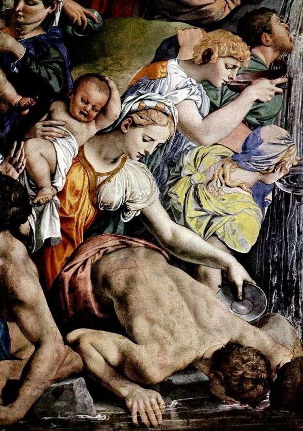モーセは岩(フレスコ画)から水を切る   Agnolo Bronzino