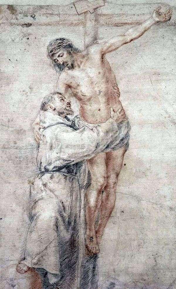 聖フランシスコキリストを抱きしめる   バーソロミューエステバンムリーリョ